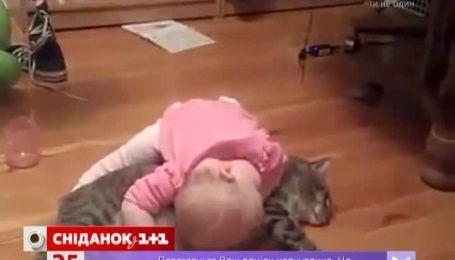 Крихітна дівчинка зворушила Інтернет своєю любов'ю до кота