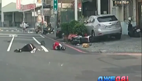 В Тайване водитель скутера сбил велосипедиста. ДТП с дорог мира