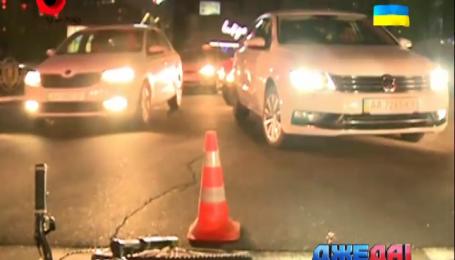 Велосипедист протаранил джип в столице