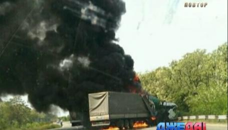 Грузовик взорвался в результате столкновения в Запорожской области