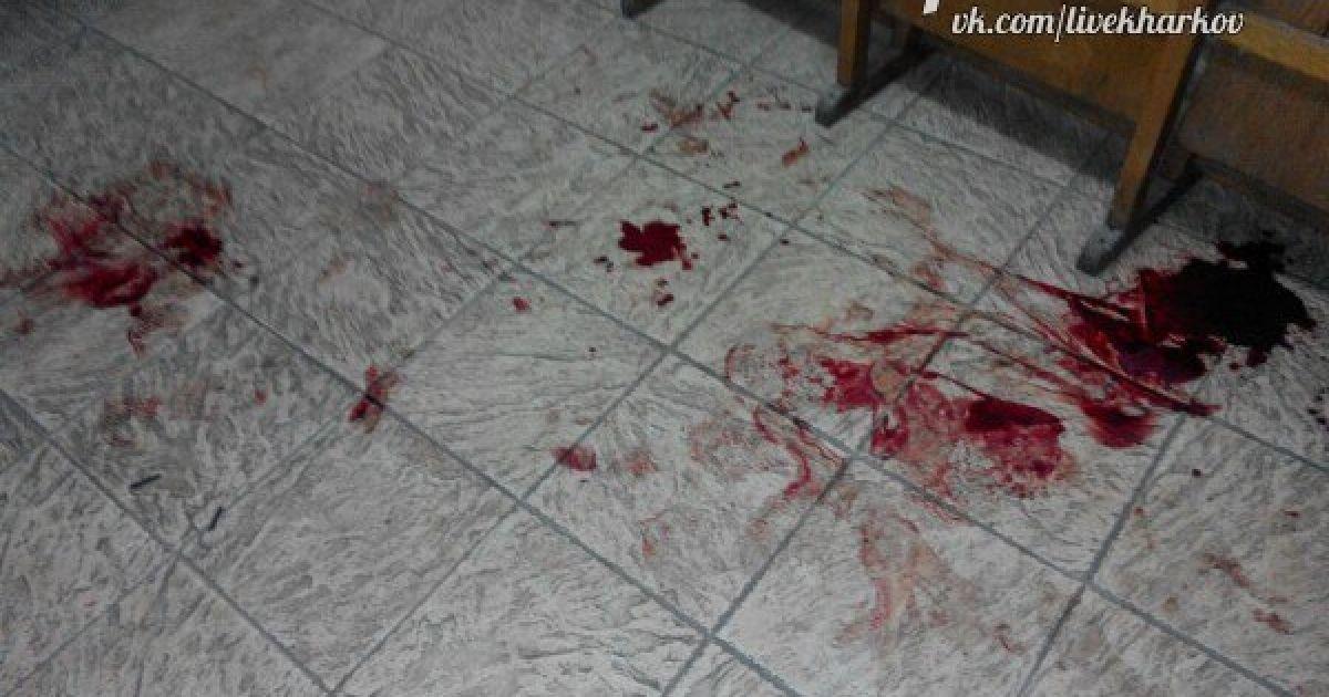 На месте нападения остались лужи крови. @ ВКонтакте/Харьков live