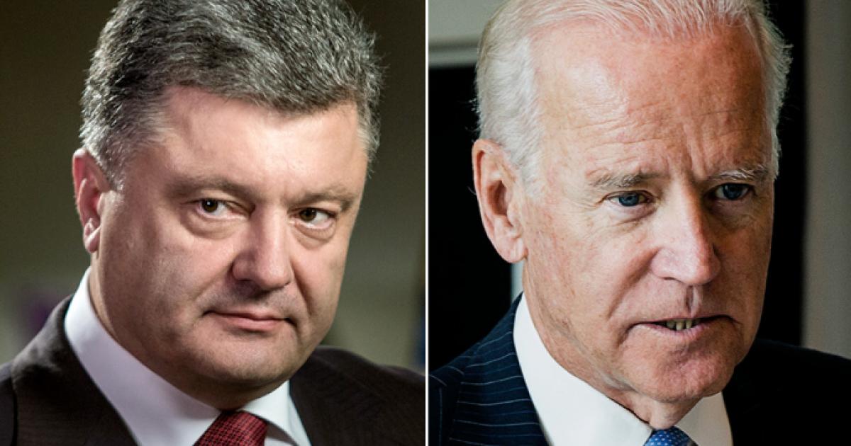 Порошенко в разговоре с Байденом призвал США и ЕС дать ответ России