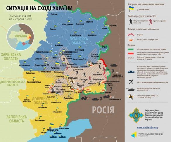 Мапа АТО на 2 серпня