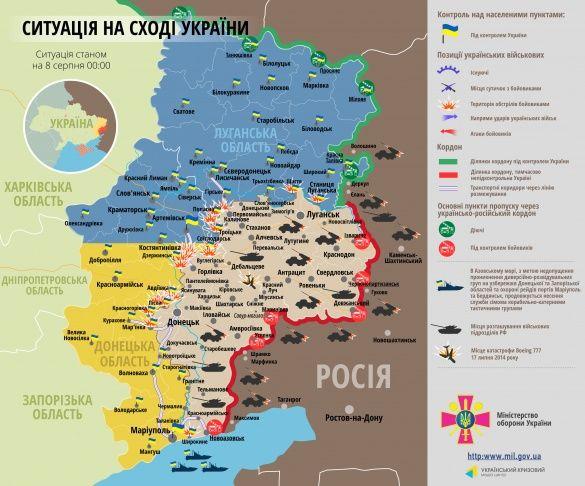 Мапа АТО 8 серпня