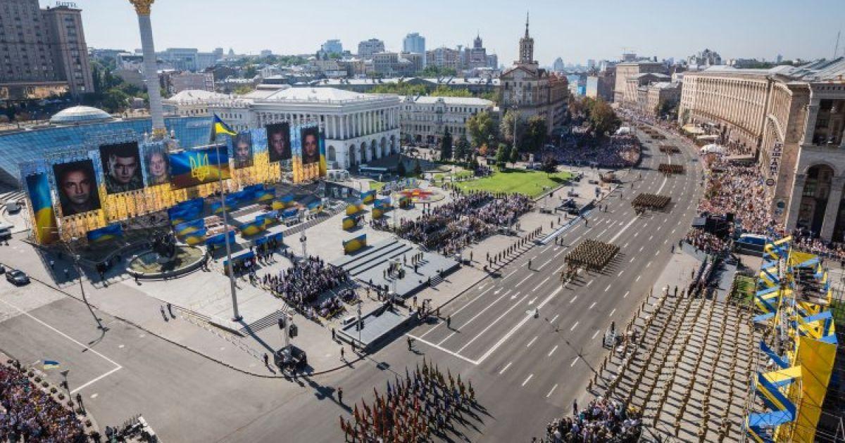 Общий вид Марша Независимости на Крещатике. В День независимости Украины на центральной улице столицы прошел торжественный Марш Независимости. @ УНИАН