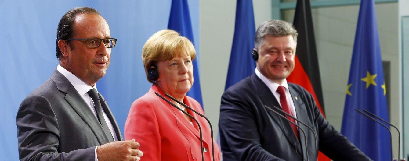 """Меркель, Олланд та Порошенко наголосили на продовженні співпраці у """"нормандському форматі"""""""