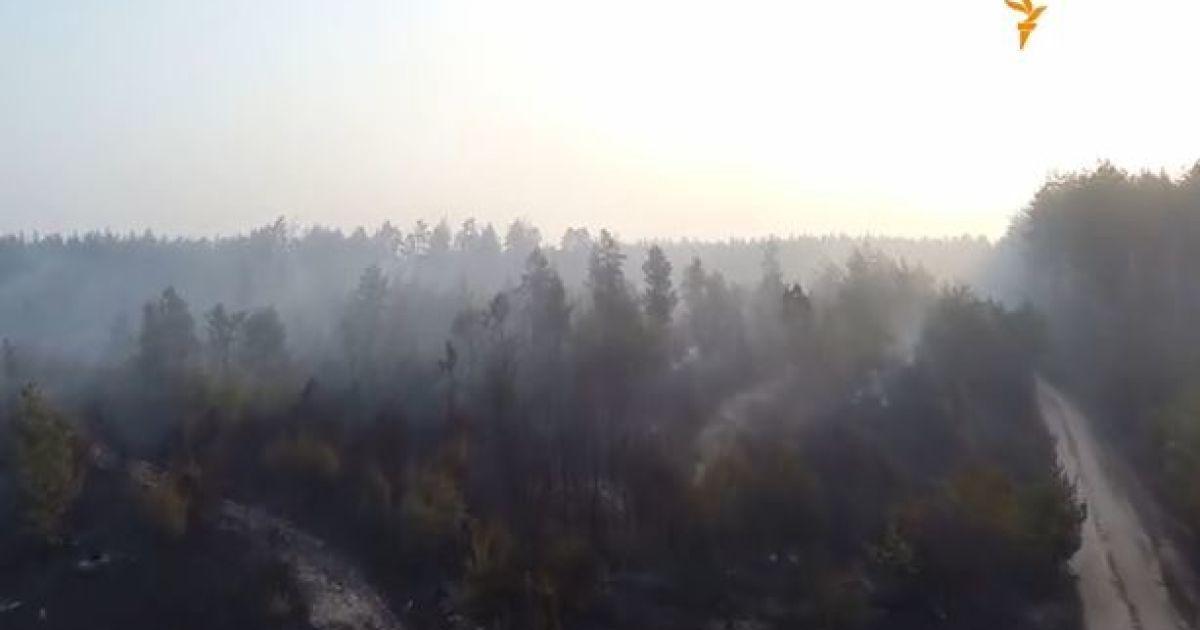 Беспилотник снял последствия масштабного пожара под Киевом