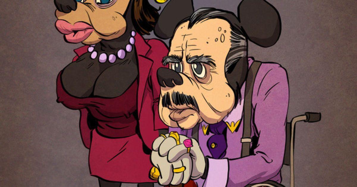 Художник изобразил диснеевских персонажей в преклонном возрасте @ tarusov.com