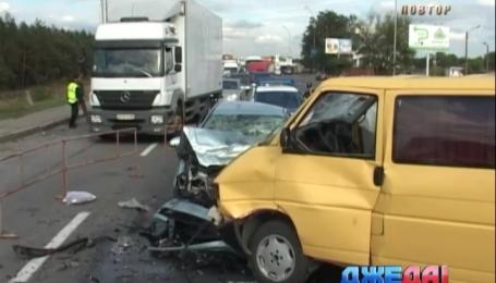 Лобовое столкновение произошло на подъезде к Киеву