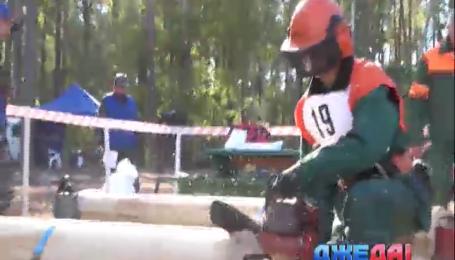 Под Киевом лесорубы соревновались за первенство в чемпионате