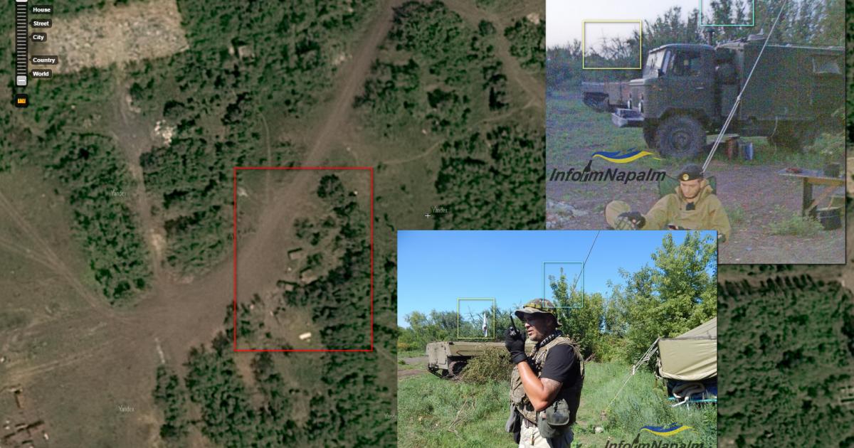 Тренировочный полигон оккупационных войск России, на территории заброшенной воинской части, на котором зафиксирован небольшой лагерь с командно-штабной машиной (КШМ) Р-142Н (Донецк) @ InformNapalm