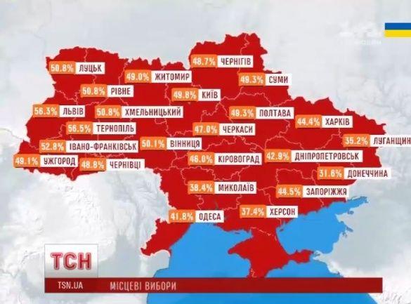 Мапа явки виборців за регіонами