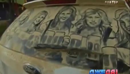Художник из Техаса на грязных окнах авто рисует замечательные картины