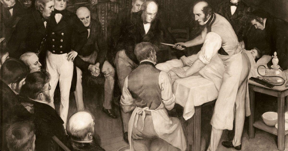 На картине изображена одна из первых операций с использованием анестезии, проведенная в Британии шотландским хирургом Робертом Листоном.