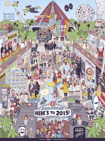 В США художник изобразил события 2015 года на одной картинке