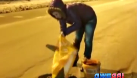 В Омске появилась ночная фея, которая самостоятельно чинит дороги