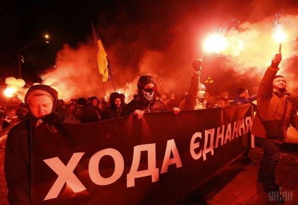 У Києві День Соборності України відзначили яскравою смолоскипною ходою