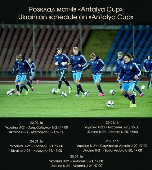 Розклад матчів України на Antalya Cup