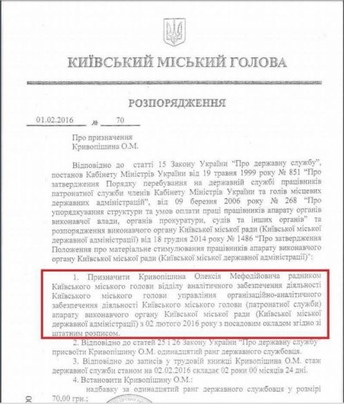 Документ щодо Кривопишина