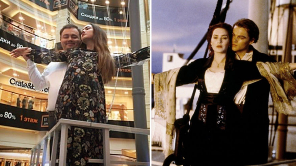 """Скандальний ведмідь та обійми з """"Титаніка"""". Двійник ДіКапріо повторив сцени з відомих фільмів"""