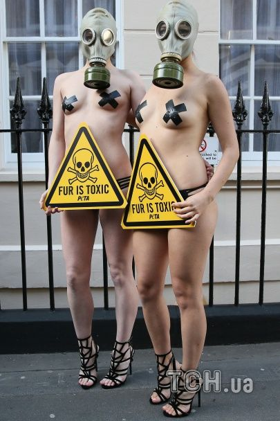 У Лондоні голі моделі в протигазах вийшли протестувати проти вбивства тварин