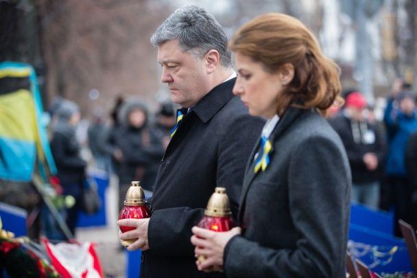 Президентське подружжя вшанувало Героїв Небесної Сотні