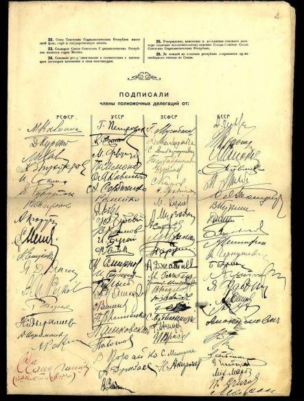 Договір про утворення СРСР, де від УСРР першим стоїть підпис Петровського