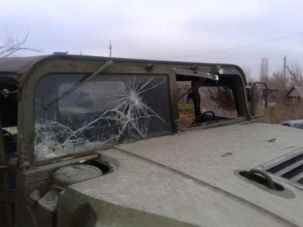 У МВС оприлюднили фото наслідків обстрілу мобільної групи АТО на Луганщині