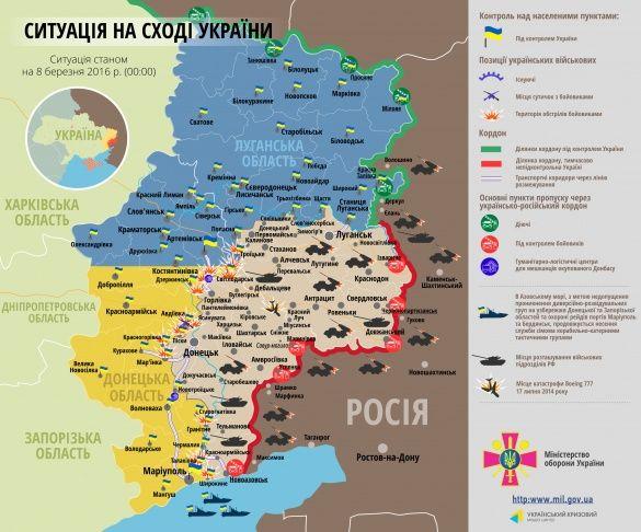 мапа АТО 8 березня 2016
