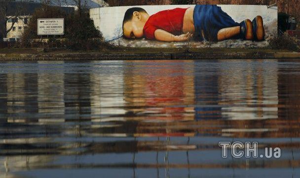 Тікаючи від війни. У Франкфурті увічнили в графіті потонулого малюка-сирійця