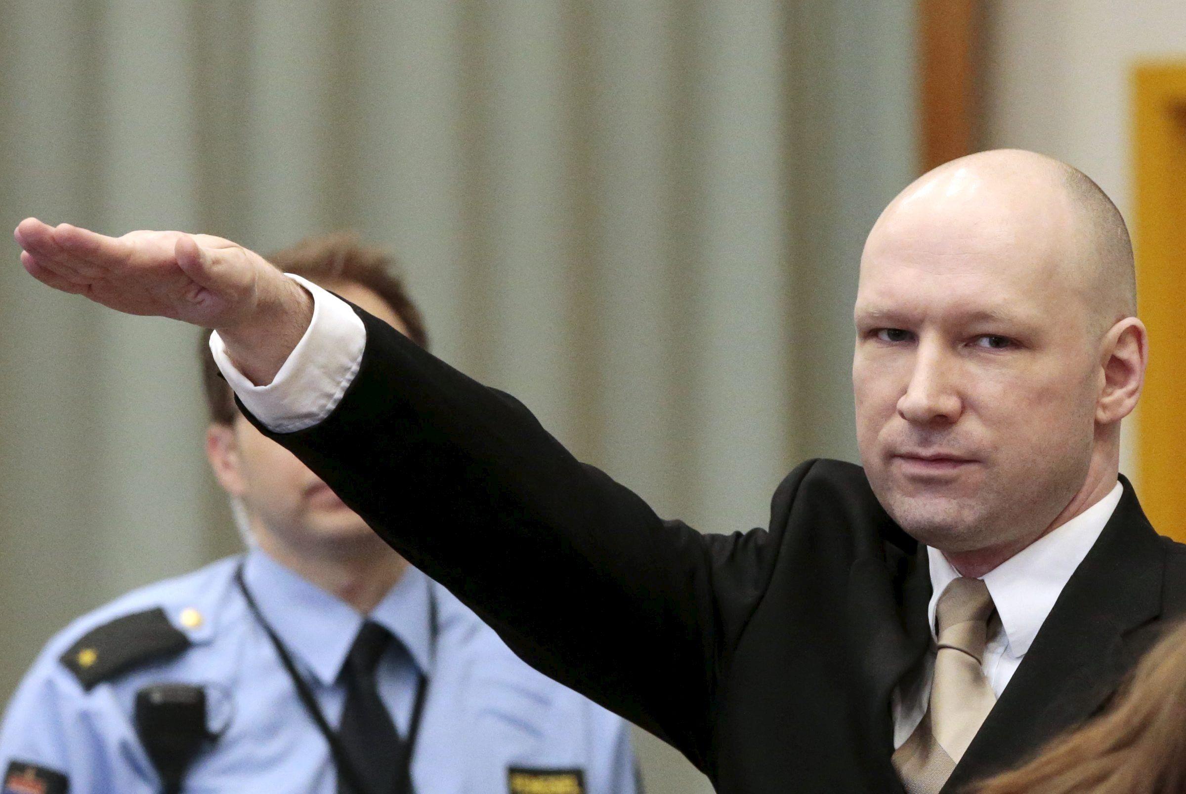Брейвік і зіга, нацистське вітання