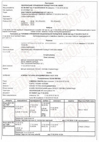 Олександр Алієв побив дружину документи протокол