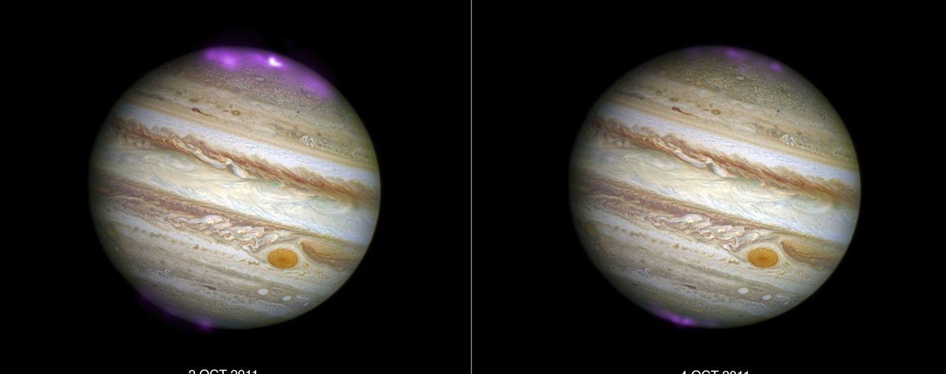 NASA зробило неймовірні знімки велетенського полярного сяйва на Юпітері