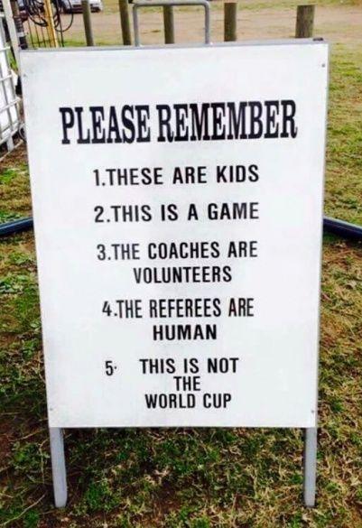 Послання для батьків, дитячий футбол