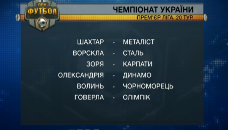 Анонс 20 тура чемпионата Украины
