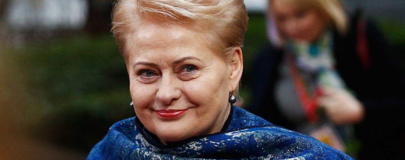 В третью годовщину аннексии полуострова Грибаускайте подчеркнула, что Крым является украинским