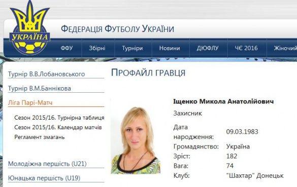 Профіль Іщенка на ФФУ