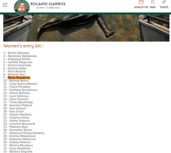 Шарапова у списку Roland Garros