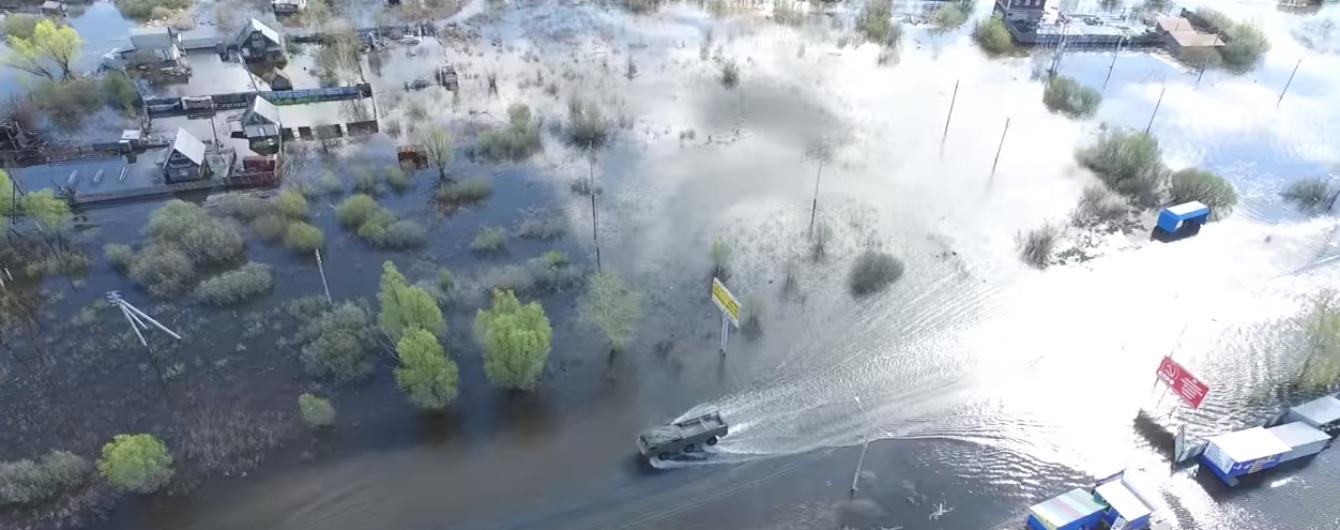 З'явилося відео наслідків масштабної повені у російському Кургані