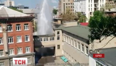 Фонтан на подвір'ї харківської школи досяг 20 метрів