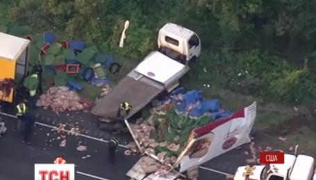 У США зіткнулися дві вантажівки і весь їхній вантаж висипався просто на трасу