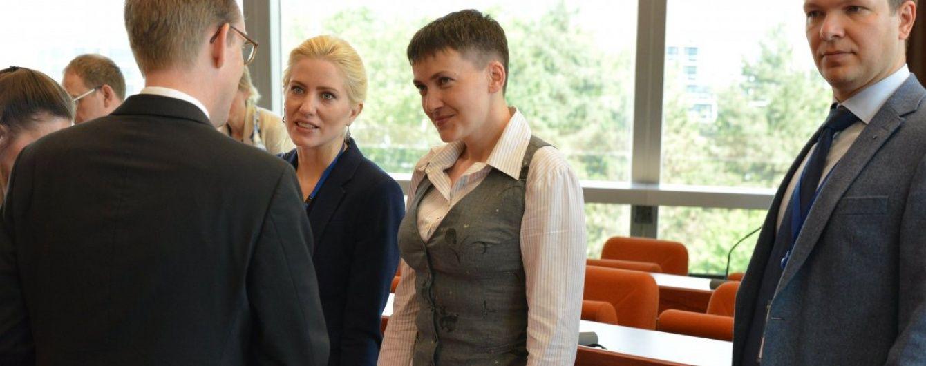 Савченко у ПАРЄ виступила у власноруч зшитому костюмі і військових туфлях