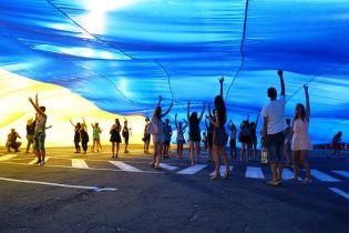 У Дніпрі розгорнули найбільший в України державний прапор площею більше 2 тисяч квадратних метрів