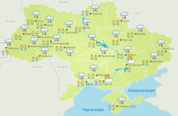 прогноз погоди на 28 червня