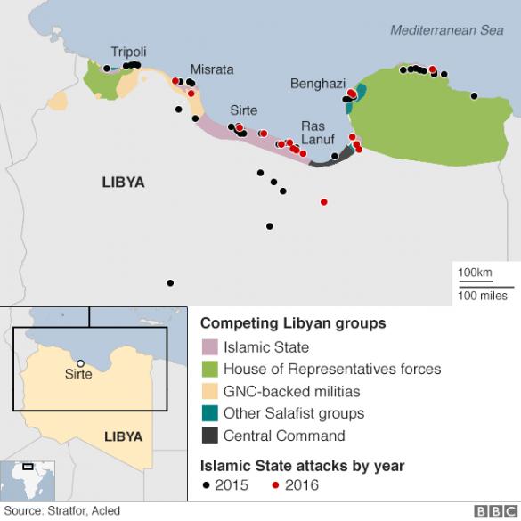 Мапа ІД на півночі Лівії лютий 2016
