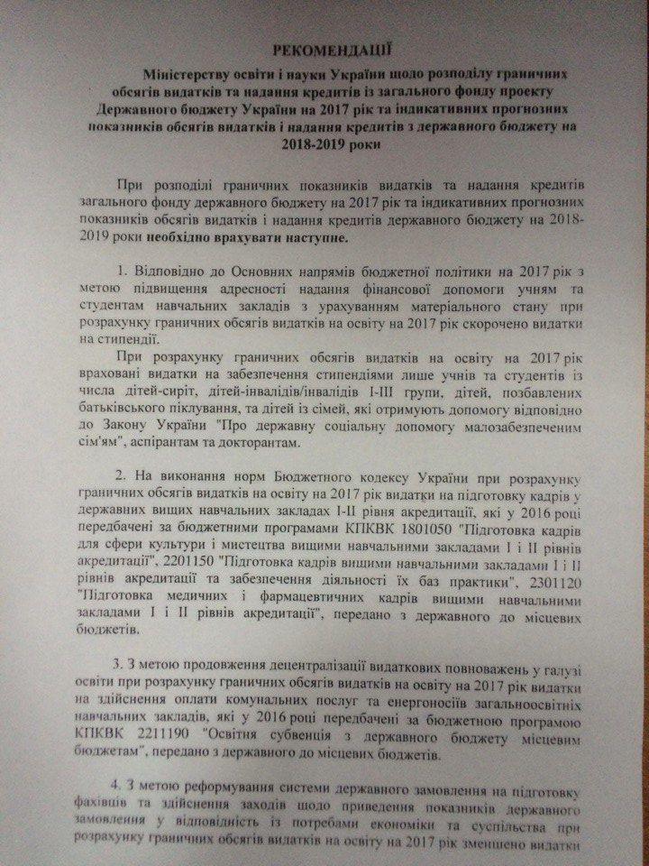 Рекомендації Мінфіну для МОН стосовно скасування бюджету на магістратурі