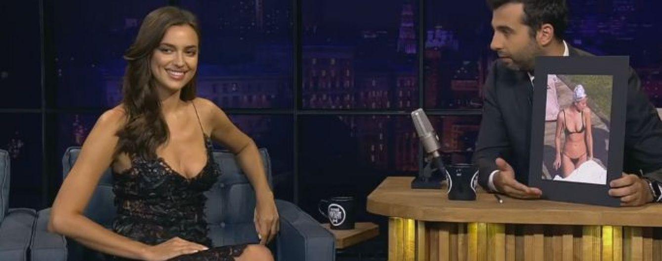 Ірина Шейк у мереживній сукні з глибоким декольте розповіла Урганту про фольгу на голові