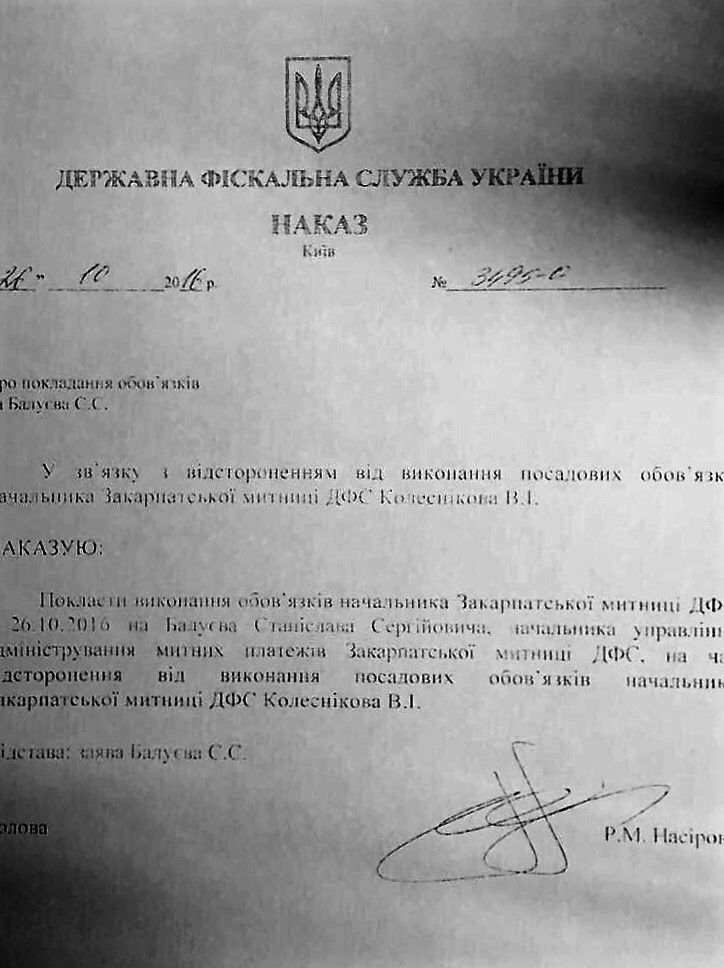 документ призначення митниця