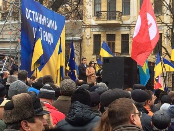 Саакашвили собрал митинг в центре Киева и призвал к перевыборам