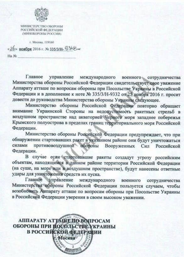 лист Міноборони Росії з погрозами збивати українські ракети поблизу Криму